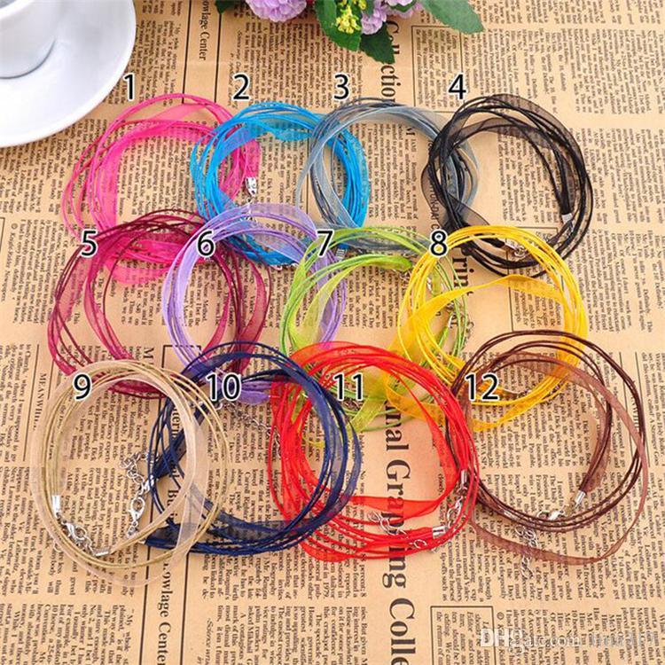 High quality Fashion Organza Voile Ribbon Necklaces Pendants Chains Jewelry DIY Cord CC551