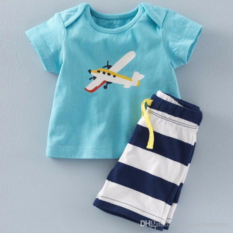 2016 Summer Baby Boys Set di ancoraggio Top t-shirt + Pantaloni a righe Bambini Manica corta Boutique Abiti Abiti Estate Pigiama bambini Abiti bambini