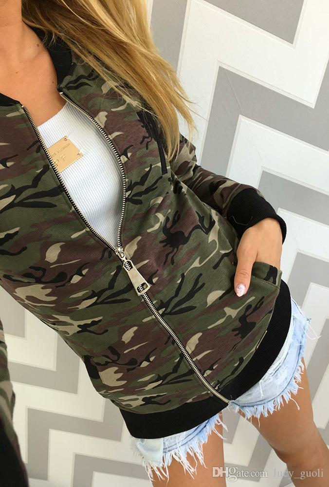 2016 Brand New Autumn winter Casual Women Camouflage Jacket Sheath Disposition Outerwear Vogue Ladies Coat Long Sleeve Zipper Outwear Jacket