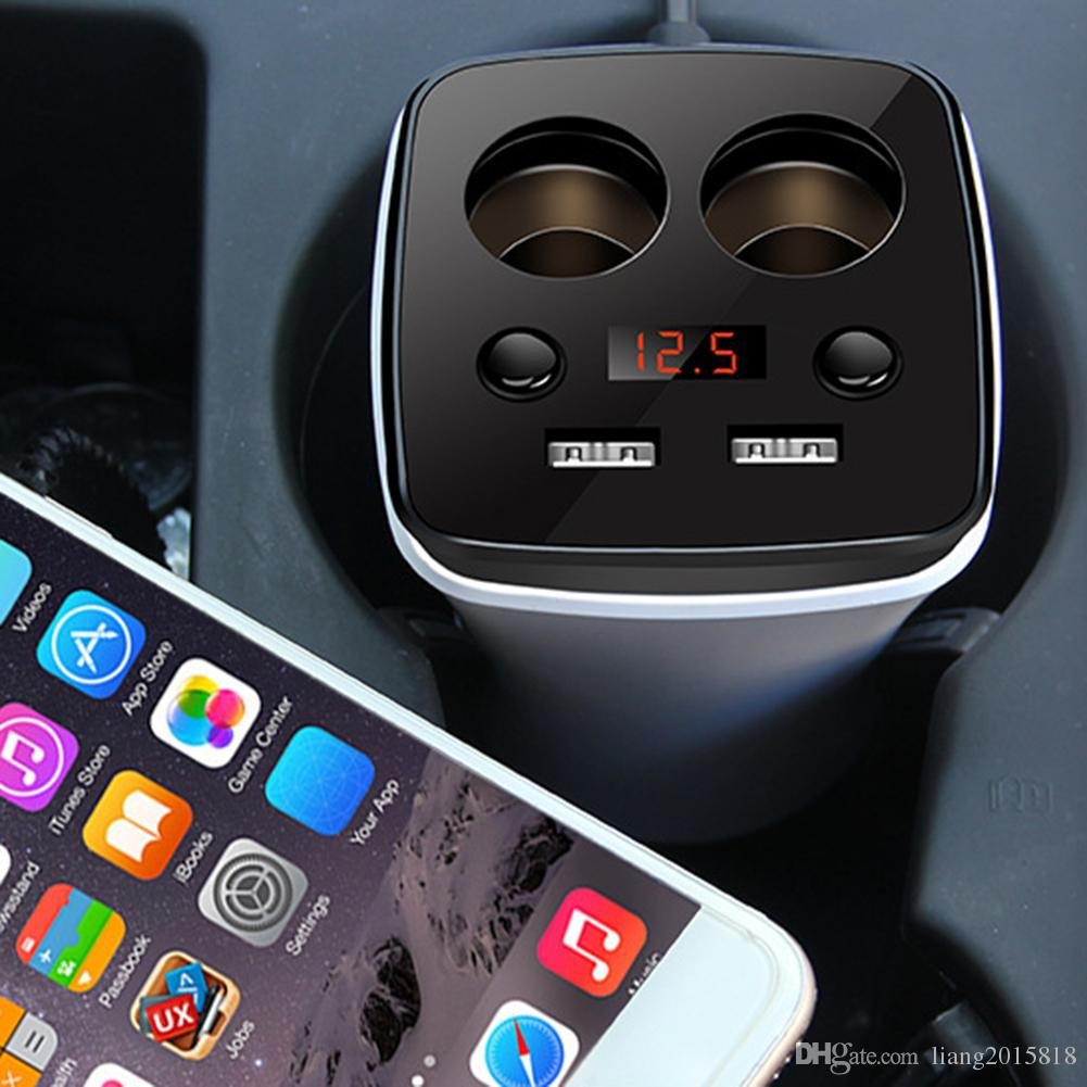 12-24V 3.1A Dual USB Car Lighter Charger Branch Adapter Port Voltage Current Display Auto Cup Holder 2 Sockets