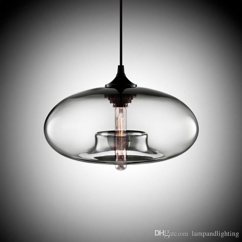 세련된 간단한 muti - 컬러 현대 유리 펜던트 램프 현대 교수형 조명기구 침실 식당 바 조명 esidion 전구