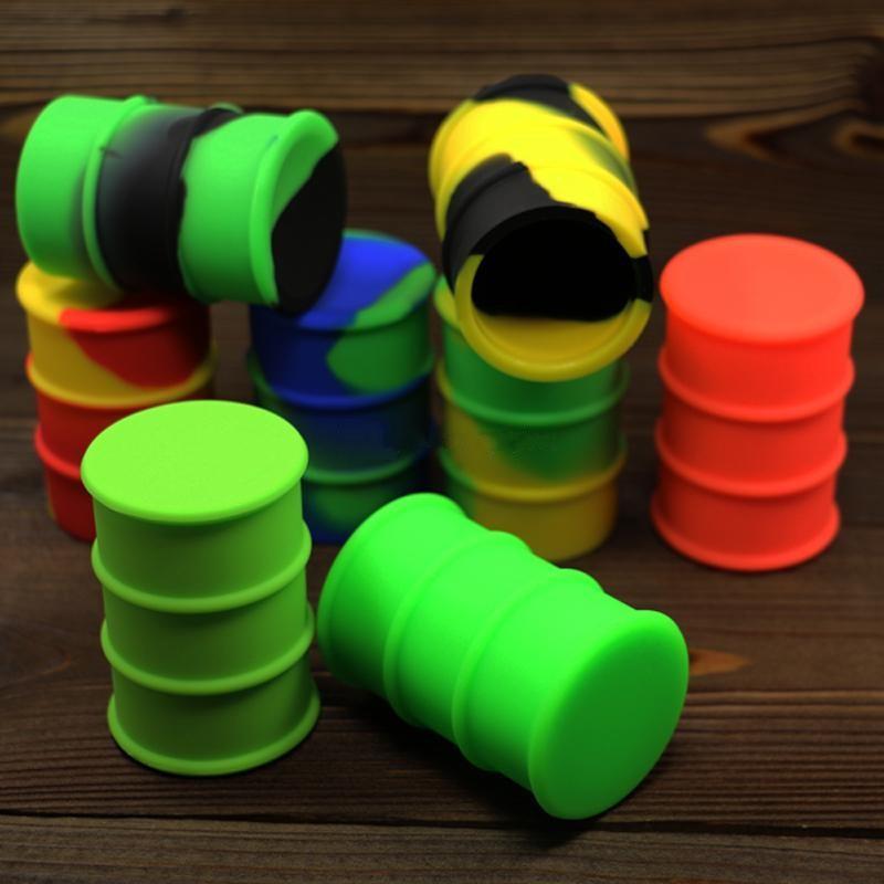 silicone oil barrel 26ml container jars dab wax vaporizer oil rubber drum shape non-stick extract silicone rubber jars dabber oil holder can