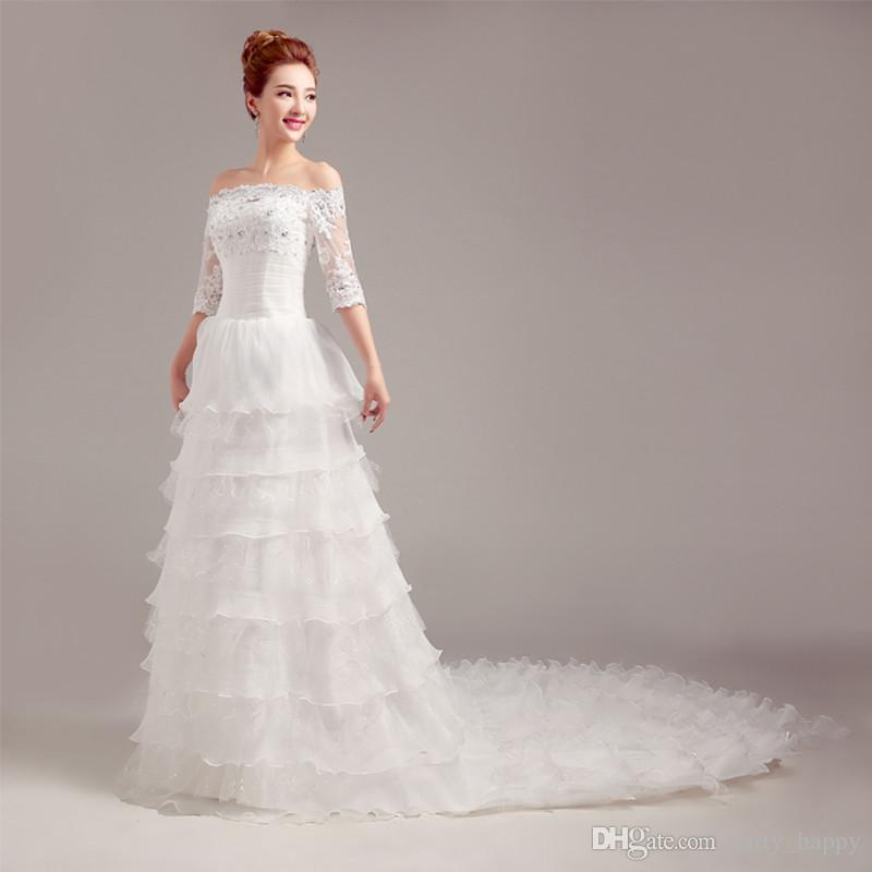 Half Sleeves Wedding Dresses Arrival Modest Gowns With A Word Shoulder Long Tail Dress Mermaid Maternity