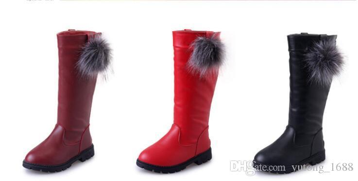 2018 Hiver Filles Bottes Enfants Sonw Bottes Enfants Hiver Chaussures Chaud Fourrure En Peluche En Caoutchouc Imperméable En Cuir PU Mode Bébé Princesse Chaussures