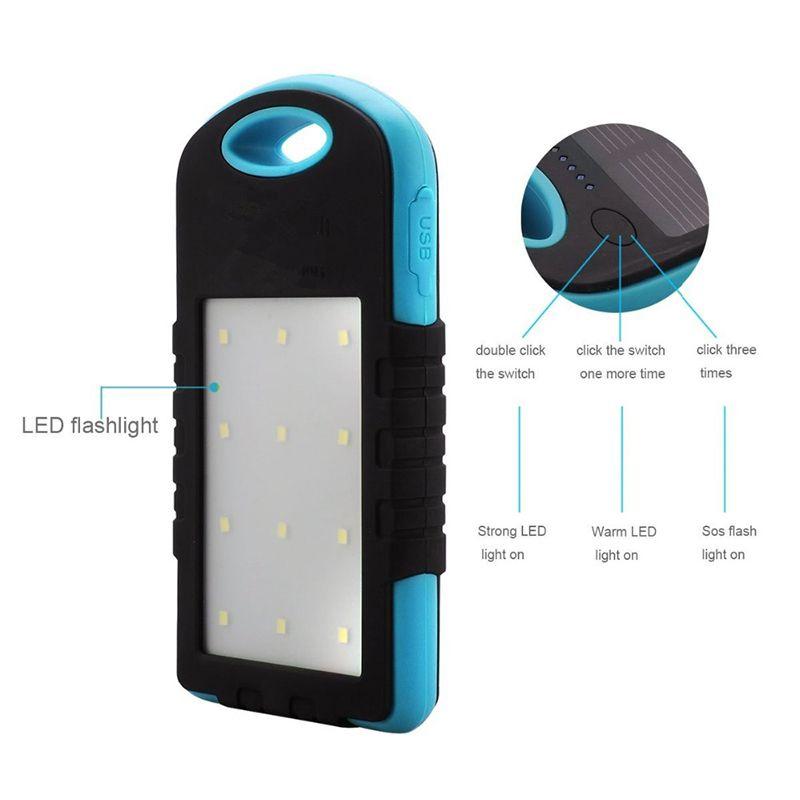 Nuevo Universal 8000 mAh Cargador solar Banco de energía solar Panel solar a prueba de agua Cargadores de batería para Dual USB LED lámpara de camping
