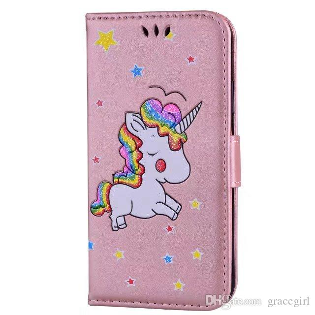 Unicorn Horse Wallet Leather Case For Iphone X XS max XR 8 7 6 6S Plus I8 IPhone8 Ipod Touch 5 Huawei P9 P10 P8 Lite 2017 Phone Stand Cover