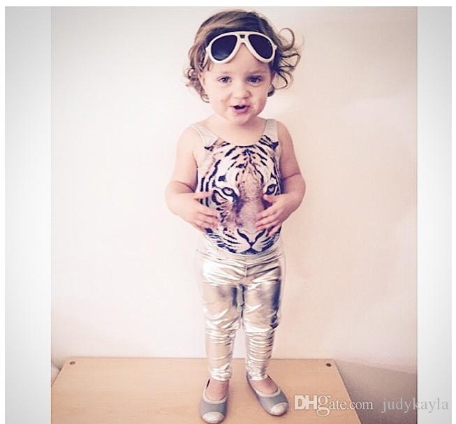 2016 New Summer Girls One-Piece Tiger Printed Swimsuit Kids Swimwear Baby Girl Bathing Suits Children Swim Clothing For 80-110cm