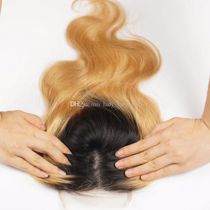4x4 '' peruanisches Menschenhaar-Spitze-Schließungs-Stück geben freien mittleren drei Teil zwei Ton 1B / 27 Honig-blonde dunkle Wurzel Ombre Körper-Wellen-Verschlüsse frei