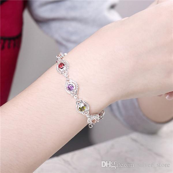 Hot sale christmas gift 925 silver Color stone bracelets DFMCH427,new fashion sterling silver plate Chain link gemstone bracelets high grade