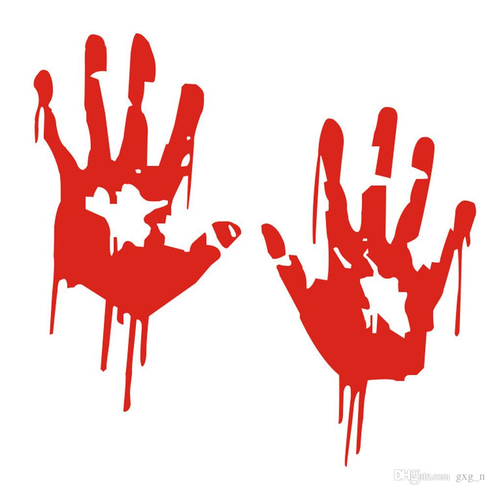 2019 zombie bloody hands print fun vinyl car sticker motorcycle window decal accessories red from gxg n 1 51 dhgate com