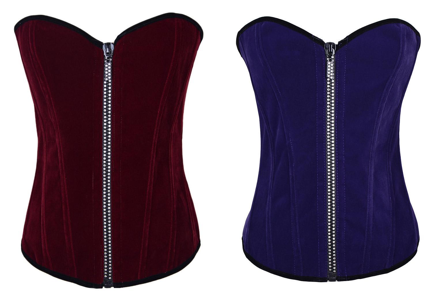 2019 Classic Velvet Overbust Corset Features Zipper Front