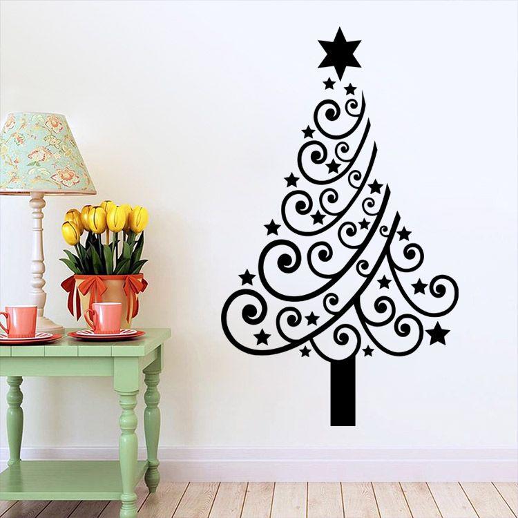 M 4 Festive Christmas Tree Flower Star Pvc Diy Wall Stickers Kids
