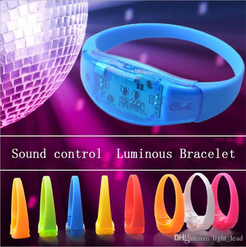 Música Activated Sound Control LED Iluminação Pulseira Pulseira Acende-se Bangle Pulseira Clube Festa Bar Cheer Luminous Hand Anel Brilhante Luz da Noite