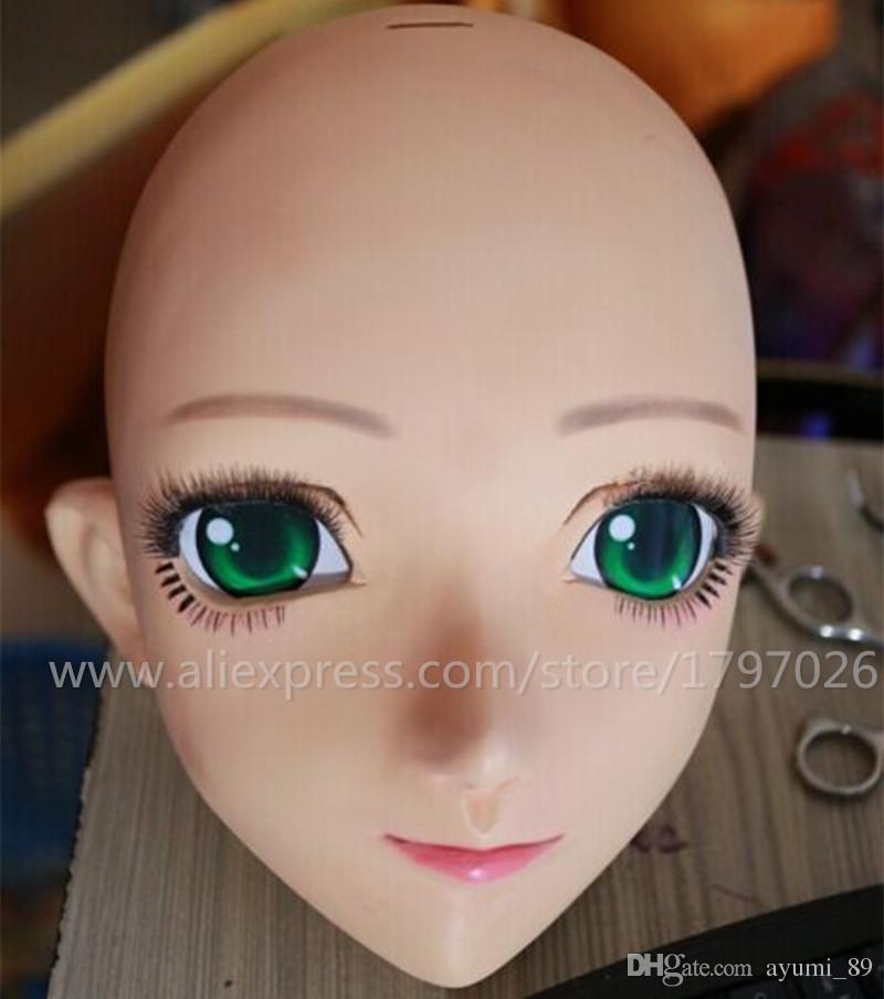C2-008 Increíble Silicona Half Head Anime Kigurumi Cosplay Máscaras Japón Personaje de dibujos animados KIG Máscara Puede Color personalizado de OJOS / PELO