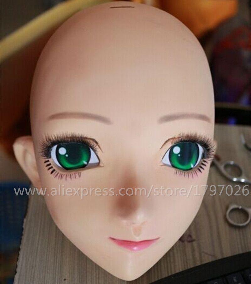 C2-009 2016 Venda Quente de Borracha De Silicone Kigurumi Máscara para Anime Papel Cosplay Meia Cabeça Japonês Anime Máscara Crossdress BONECA