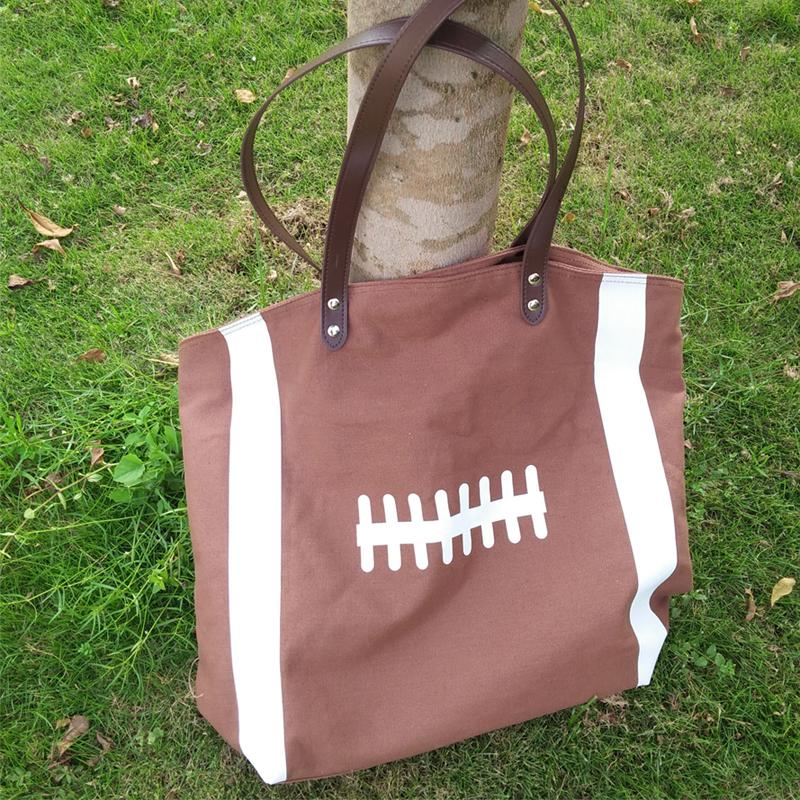 Wholesale Blanks Sports Bag Football Tote Bags with PU faux leather Handles Soccer Baseball Softball Basketball DOM13292