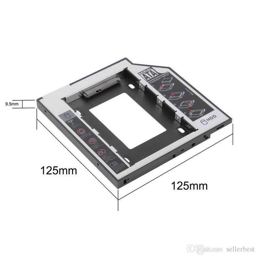 Universal 2.5 2nd 9.5mm 12.7 MM Ssd Hd SATA Hard Disk Drive Secondo HDD Caddy Supporto adattatore Bay Cd Dvd Rom CDROM Optical Bay Drive