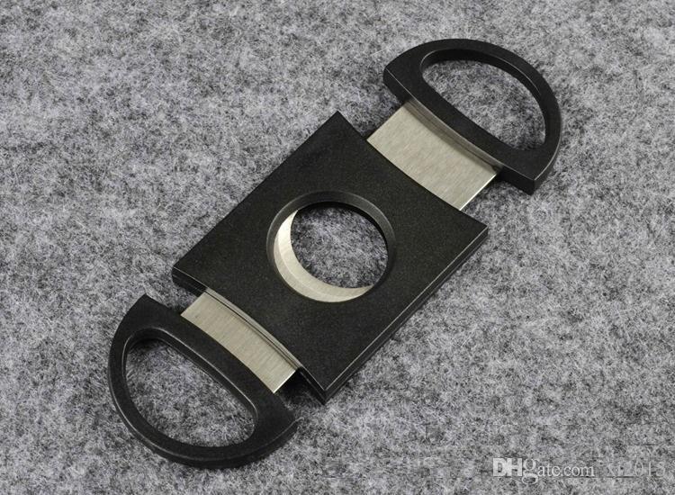 Bolsillo De Acero Inoxidable De Doble Cuchillas Cuchillo Cortador de cigarros Tijeras Tabaco Negro Nuevo Negro Cigarro Tijeras wa4137