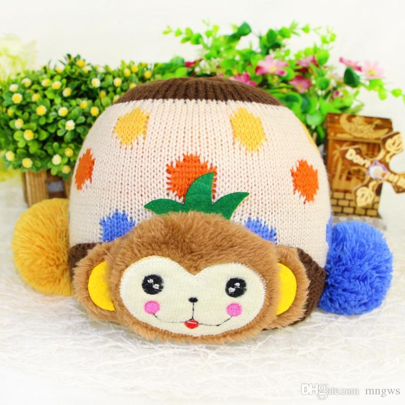 Best monkey stickers big double ball kids knit hat wool hat korean children winter 2015 wholesale funds under 2 74 dhgate com