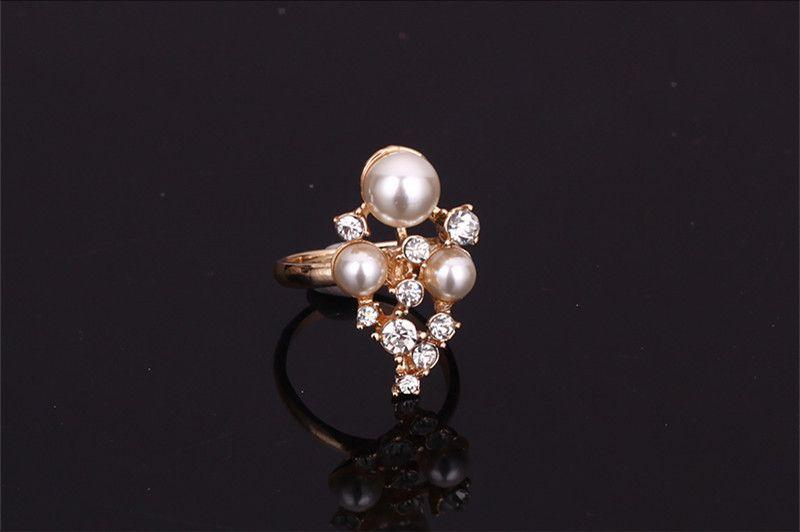Серьги ожерелье браслет кольцо комплект ювелирных изделий элегантная мода горный хрусталь / имитация жемчуг 18k позолоченные партии ювелирных изделий 4-х частей набор JS182