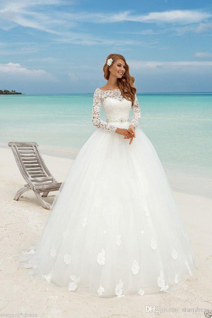 Schöner Strand Langarm Ballkleid Brautkleider Bootshals-Spitze-Floral-montierte Perlen-Sash-Sommer-Braut-billiges arabisches böhmisches Land