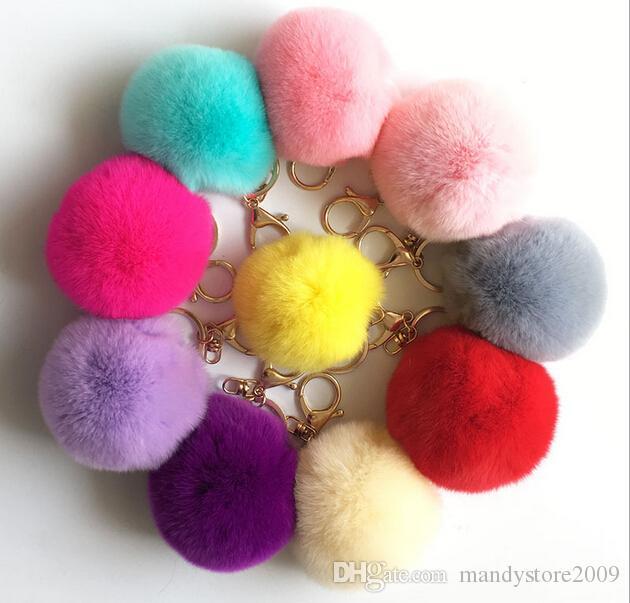 9f8a6e3e56eb Fashio Rabbit Fur Balls PomPom Cell Phone Car Keychain Pendant Handbag  Charm Key Ring plush key chain Bag Pendant keychain 8cm Bag Accessory