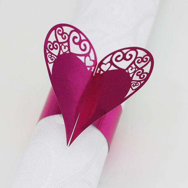 Cuore Design Tovagliolo Tovaglioli Carta tagliata a laser Tovaglioli Anelli Tovaglioli di carta Banda matrimoni Partito Decorazione della tavola Accessori 200 PZ