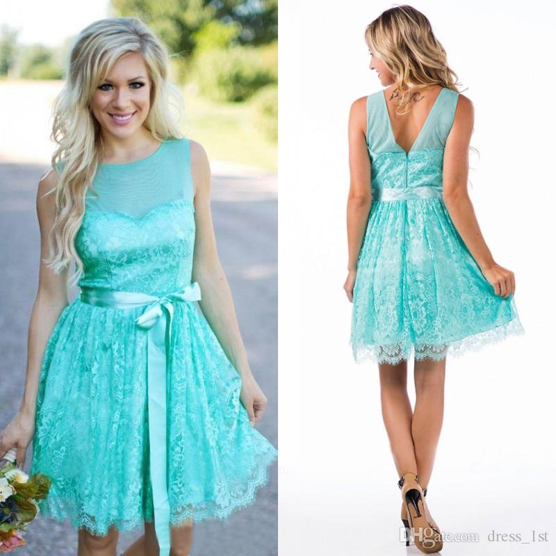 76c647cc445e1 Turquoise Short Lace Bridesmaid Dresses 2019 Country Jewel Neck V Shape  Back Knee Length Maid Of Honor Gown with Sash Custom Made EN80921
