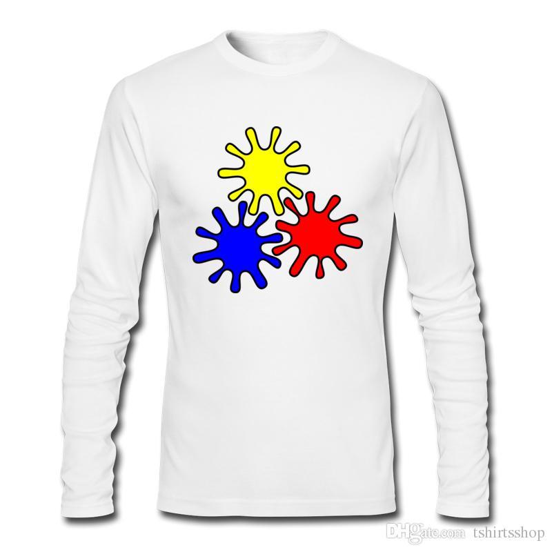 Melhor Venda Quente Popular T-shirts Colorido Cog Padrão Impresso T-shirts 2017 Novo Outono Inverno Camisas de Manga Longa