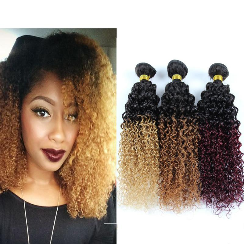 Ombre Curly Hair Extensions 3 Bundles Human Hair Two Tone Ombre