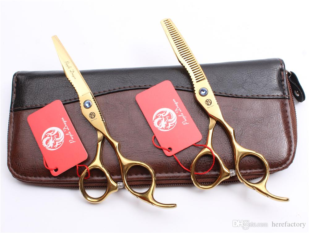 """Z1011 6"""" Japan 440C Purple Dragon Golden Professional Human Hair Scissors Barbers' Hairdressing Scissors Cutting Thinning Shears Style Tools"""