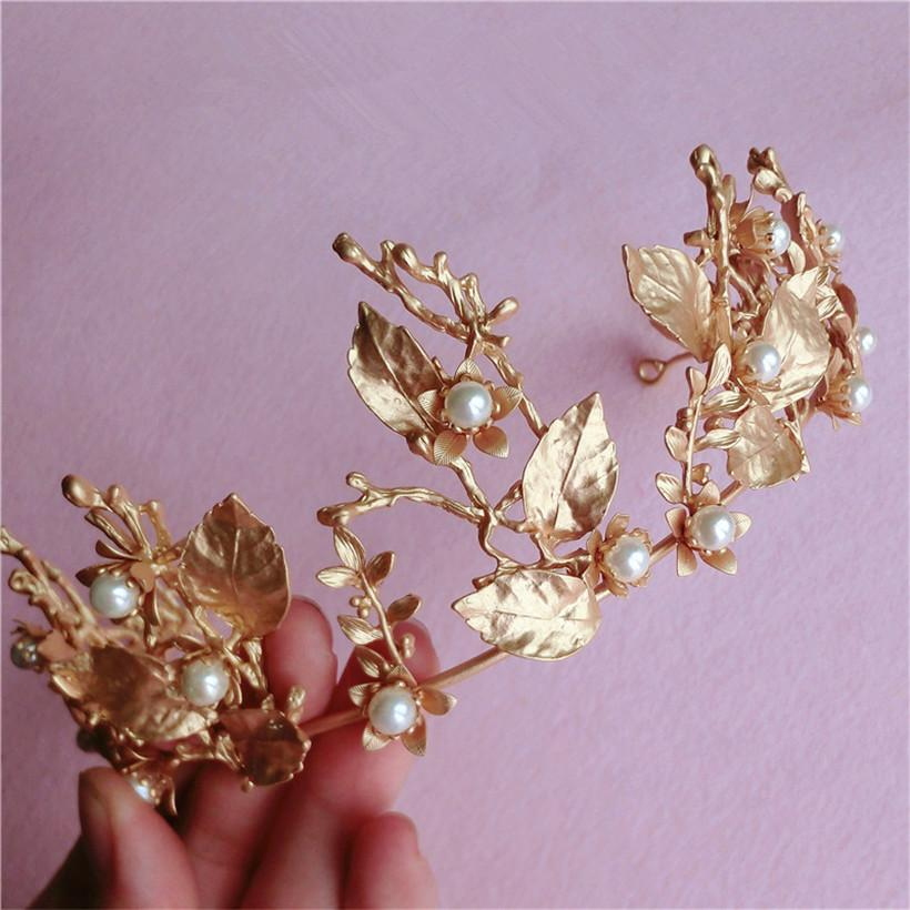 2016 Fashion Wedding Bridal Bridesmaid Gold Leaves Crystal Rhinestone Pearl Queen Hair Accessories Jewelry Headband Crown Tiara Headpieces