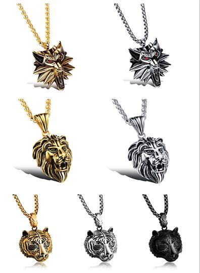 Wholesale Accessories Charm Fashion Men Jewelry Punk Style Color Lion Head Pendant Stainless Steel Necklace 170816