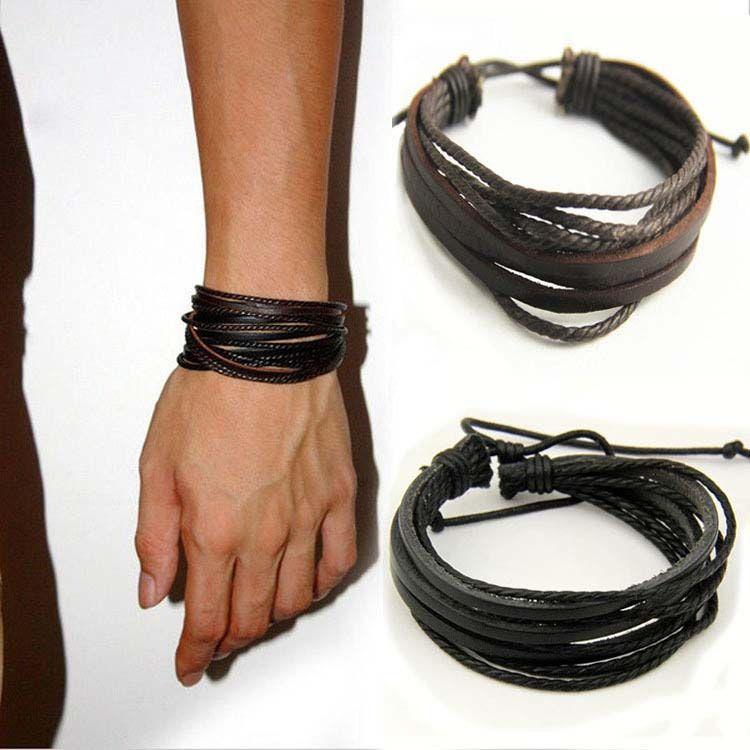 Mens Bracelets Wrap Multilayer Genuine Leather Black And