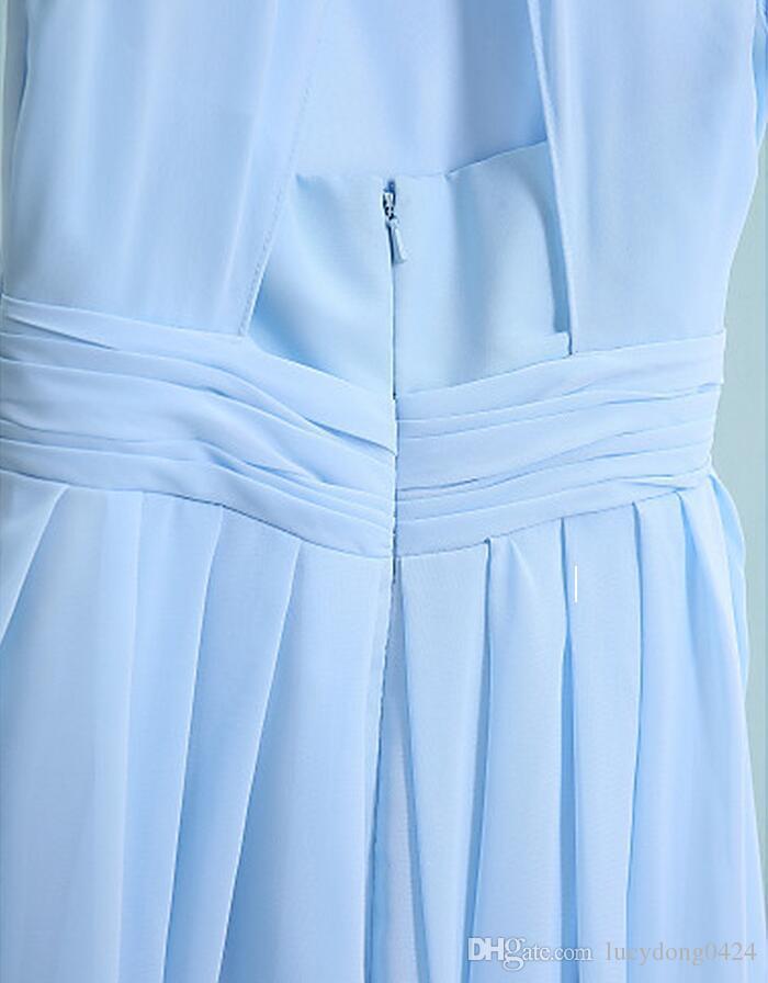 New Arrival Light Sky Blue Long Junior Bridesmaid Dresses Tea-length Strapless Jewel Chiffon Little Girls' Dresses