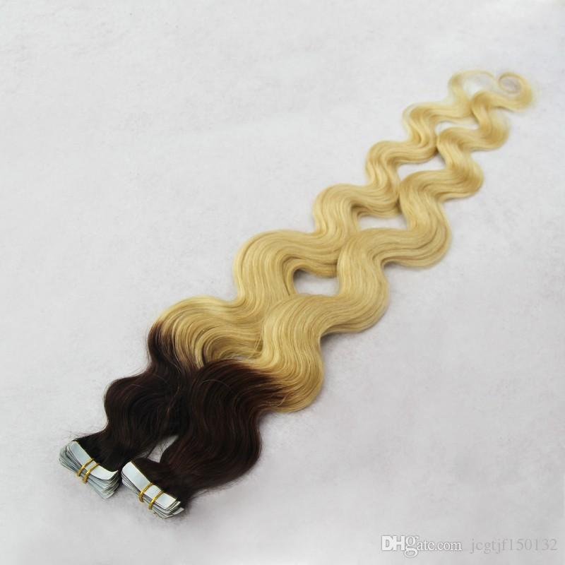 Estensioni dei capelli della trama della pelle dell'onda del corpo Due tonalità nastro nero / biondo Ombre capelli brasiliani Traight nastro biadesivo nelle estensioni dei capelli Ombre