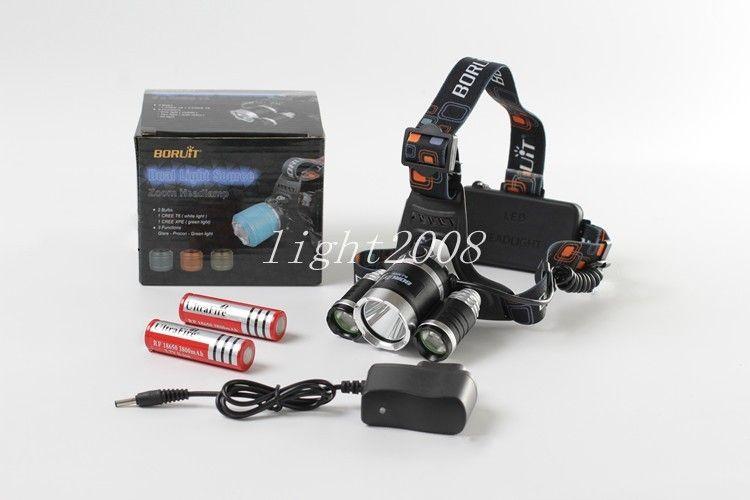 Boruit 6000LM RJ-3001 3x XM-L T6 LED Faro USB Lámpara de la linterna Linterna Lanterna Faro + 2 * 18650 Batería + Cargador