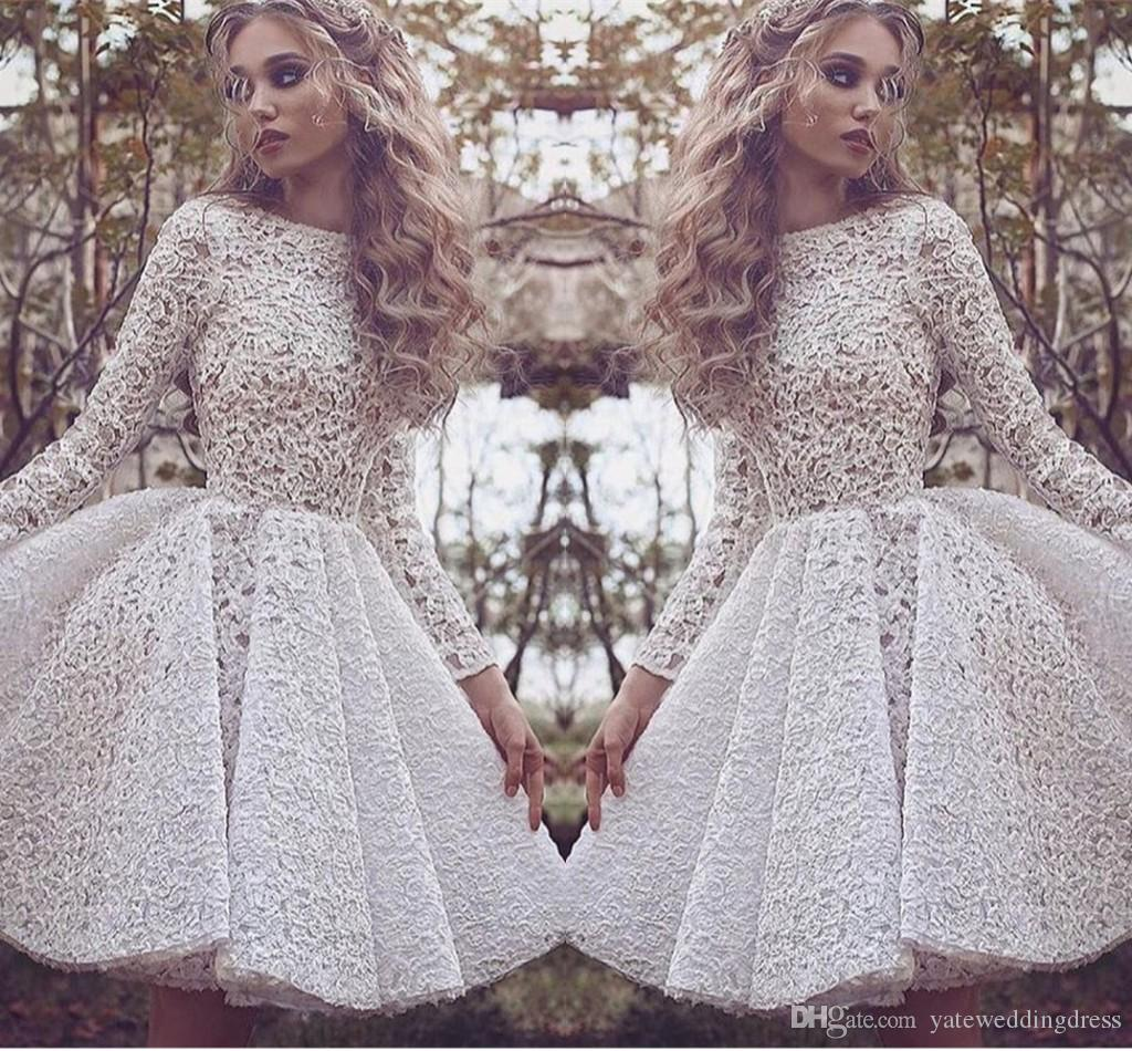 Long Sleeves Homecoming Dresses All White Lace Applique Prom Dresses Short  Back Zipper Tiered Ruffle Custom Made Formal Occasion Party Dress Yellow ... e1d3781b2