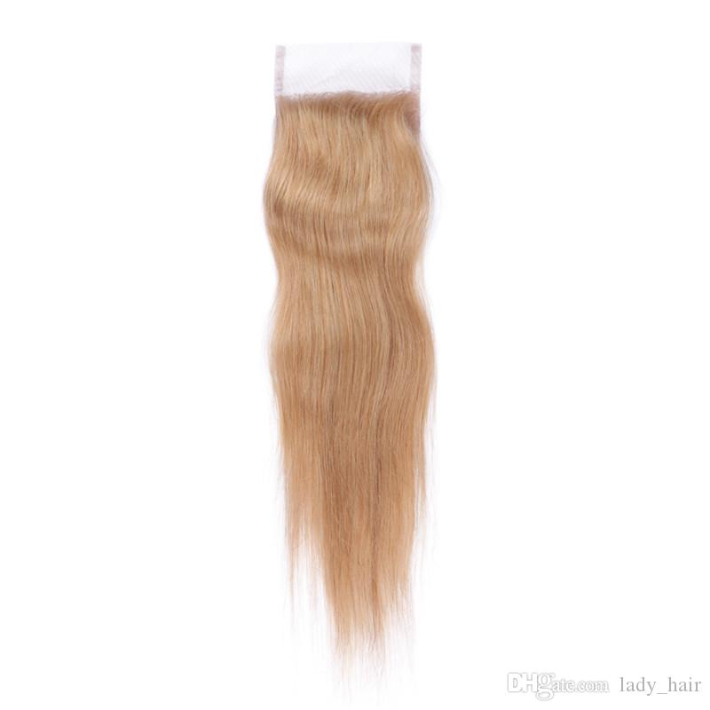#27 Honey Blonde Malaysian Human Hair 3Bundles With Closure Strawberry Blonde Hair Weaving With 4x4 Lace Closure Silky Straight