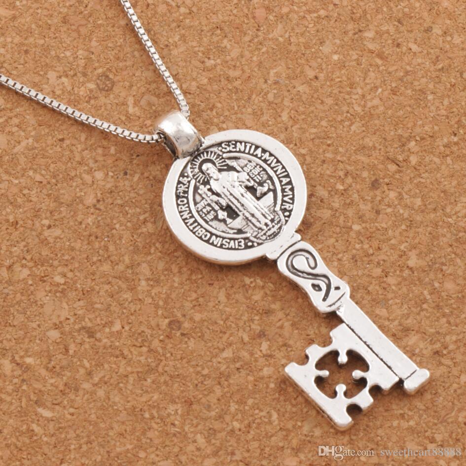 aebe3b3eedd Compre San Benito Medalla Cruz Smqlivb Clave Religiosos Collares Pendientes  24 Pulgadas Cadenas De Plata Antiguas N1684 25x59mm A  1.21 Del  Sweetheart88888 ...