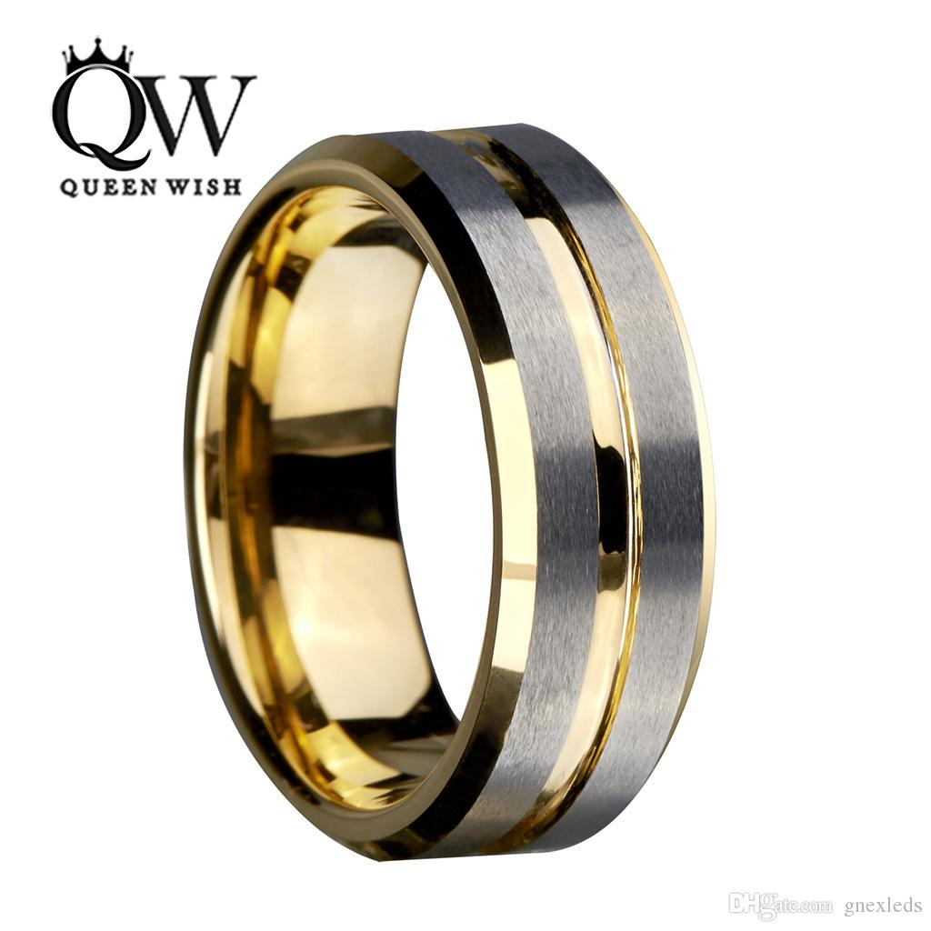 8mm Gold Tungsten Carbide Ring for Men and Women Silver Brushed and Black Stripe Wedding Bands Promise Engagement Ring Fashion Jewelry