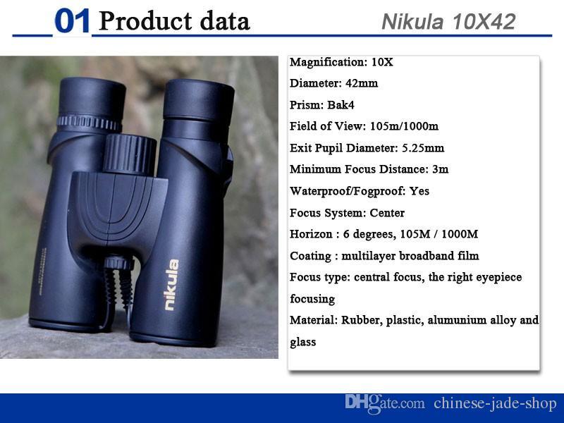 Nikula 10X42 jumelles nouveau professionnel azote étanche télescope puissant Bak4 Night Vision chasse portée militaire compact /