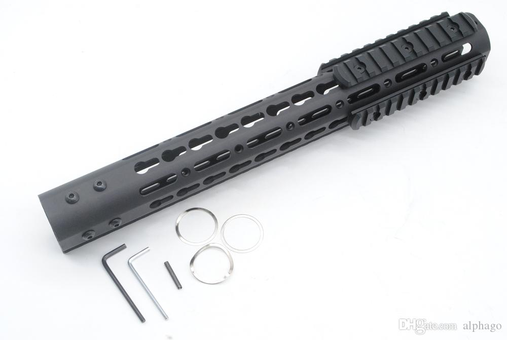 13.5 Inch Free Float Key Mod Handguard Rail Black with Steel/Aluminum Barrel Nut + Picatinny Rail Section