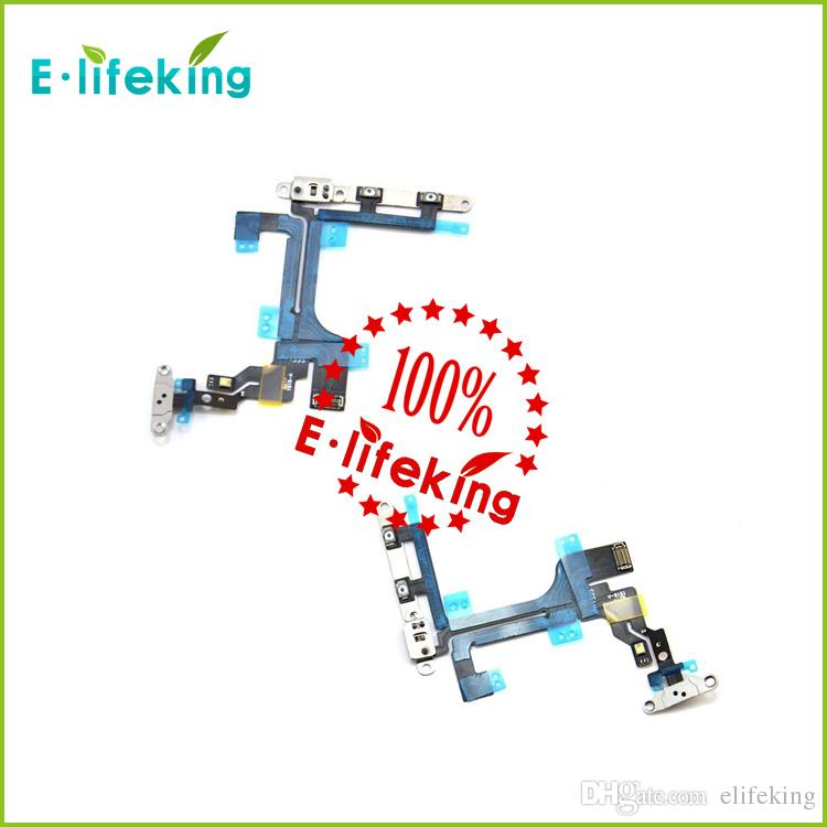 Power Button Switch Flex Cable With Metal Button Smart Phone Replacement Part For iPhone 5C fast shipping