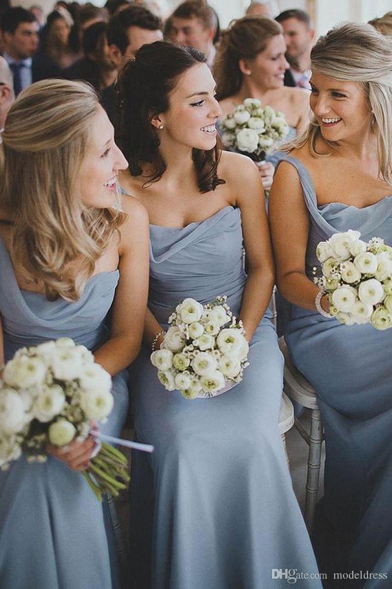 2019 New Dusty Blue Beach Bridesmaid Dresses One Shoulder Pleats Floor Length Chiffon Formal Boho Maid of Honor Wedding Guest Gowns Cheap