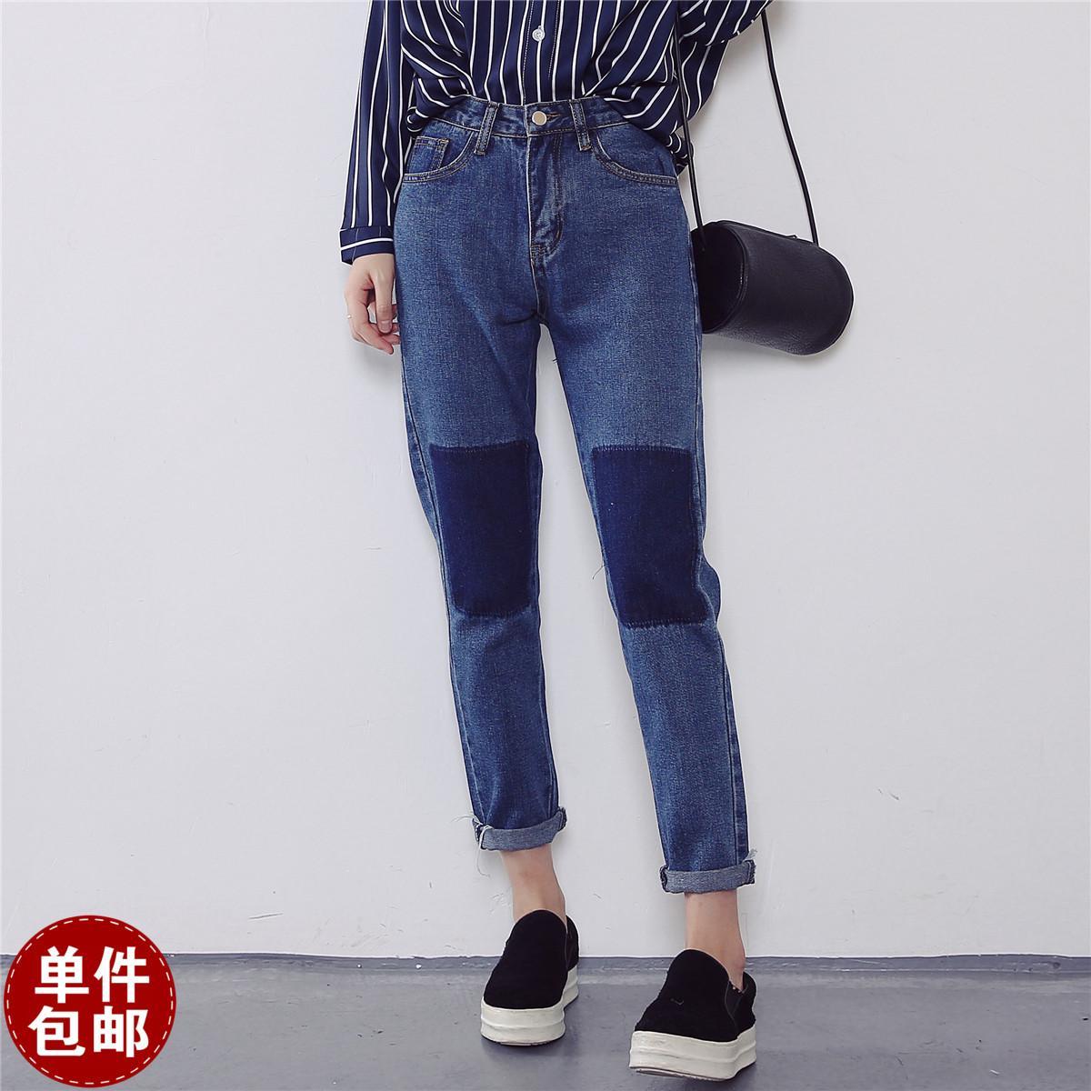 173af8aae7f Knee Patches Bohemian Jeans Women Denim Pants Capri Vintage Jean Femme  Pantalon Vaqueros Mujers Pantalones Jeans Donna Jeans Pants Bottoms Online  with ...