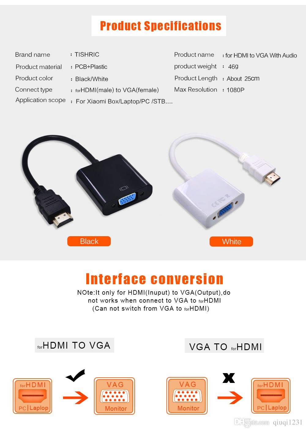 qsuperkey For HDMI to VGA With Audio Cable HDMI2VGA Adapter Male To Female Digital to Analog Video Converter For PC Laptop