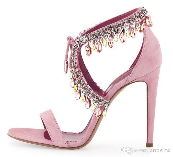 2016 Fashion Crystal Rhinestone Wedding Bridal Shoes Custom Made Plus Size Summer Style Sandals Lace Up High Thin Heels Sandals Shoes Sexy