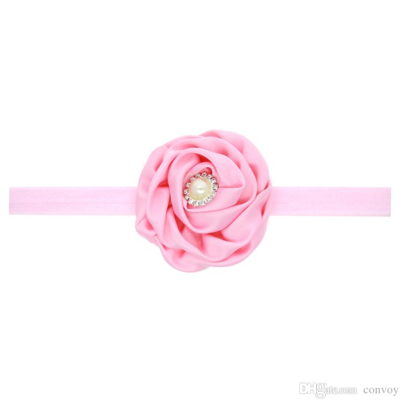 Baby Headbands Flowers Satin Rose Head Bands Children Hair Accessories Rhinestone Pearl Hairbands Princess Headdress Elastic Headwear KHA168