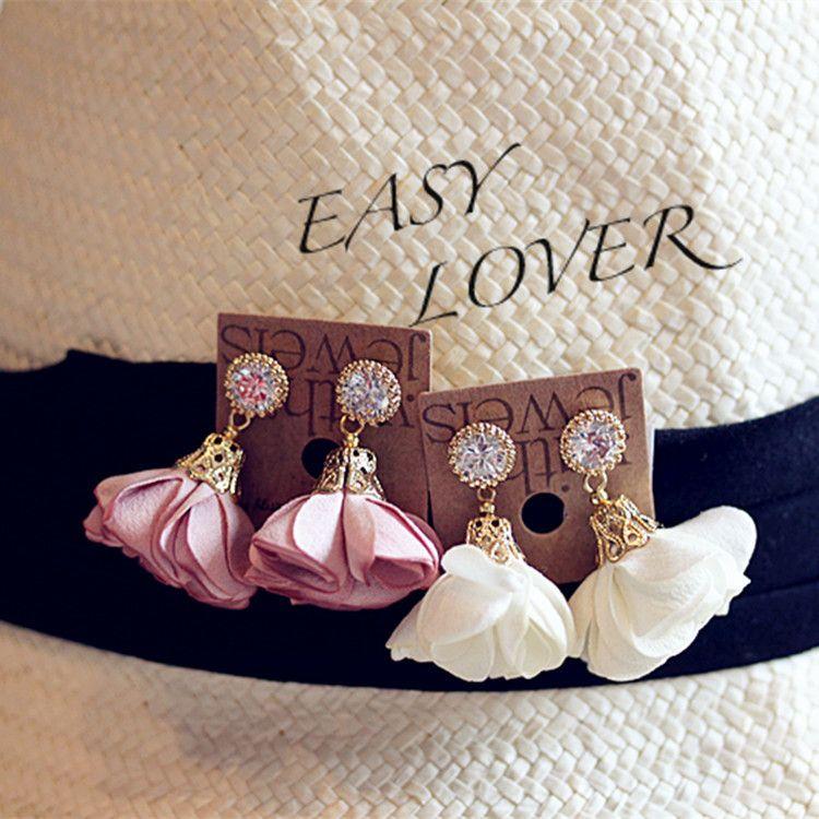 2016 Tuch Blütenblätter Ohrringe Retro Strass Kristall Stoff Schmetterling Floral Anhänger Ohrstecker Ohrring Für Frauen Damen